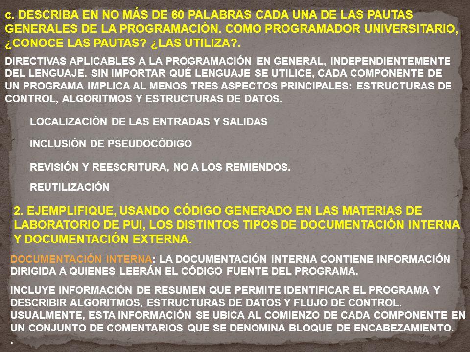c. DESCRIBA EN NO MÁS DE 60 PALABRAS CADA UNA DE LAS PAUTAS GENERALES DE LA PROGRAMACIÓN.