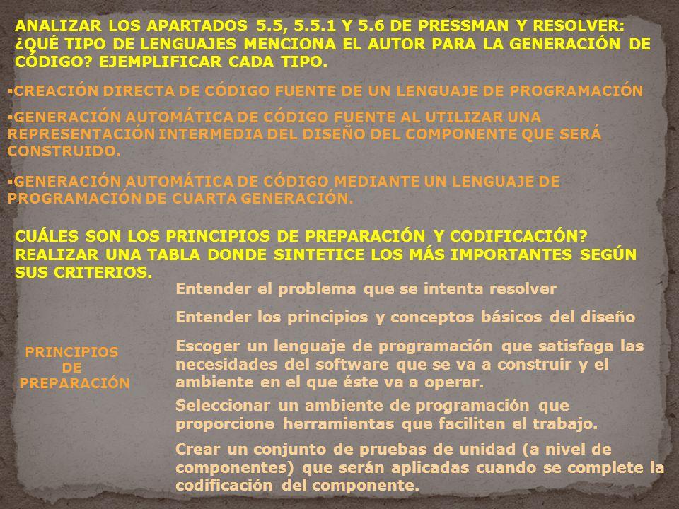 ANALIZAR LOS APARTADOS 5.5, 5.5.1 Y 5.6 DE PRESSMAN Y RESOLVER: ¿QUÉ TIPO DE LENGUAJES MENCIONA EL AUTOR PARA LA GENERACIÓN DE CÓDIGO.