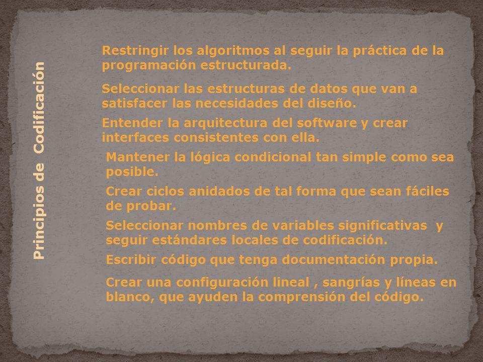 Principios de Codificación Restringir los algoritmos al seguir la práctica de la programación estructurada.