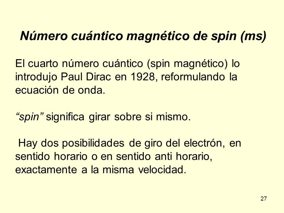 27 Número cuántico magnético de spin (ms) El cuarto número cuántico (spin magnético) lo introdujo Paul Dirac en 1928, reformulando la ecuación de onda.