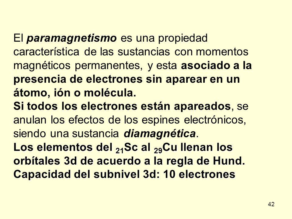 42 El paramagnetismo es una propiedad característica de las sustancias con momentos magnéticos permanentes, y esta asociado a la presencia de electron