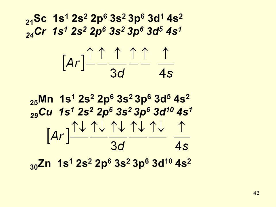 43 21 Sc 1s 1 2s 2 2p 6 3s 2 3p 6 3d 1 4s 2 24 Cr 1s 1 2s 2 2p 6 3s 2 3p 6 3d 5 4s 1 25 Mn 1s 1 2s 2 2p 6 3s 2 3p 6 3d 5 4s 2 29 Cu 1s 1 2s 2 2p 6 3s 2 3p 6 3d 10 4s 1 30 Zn 1s 1 2s 2 2p 6 3s 2 3p 6 3d 10 4s 2