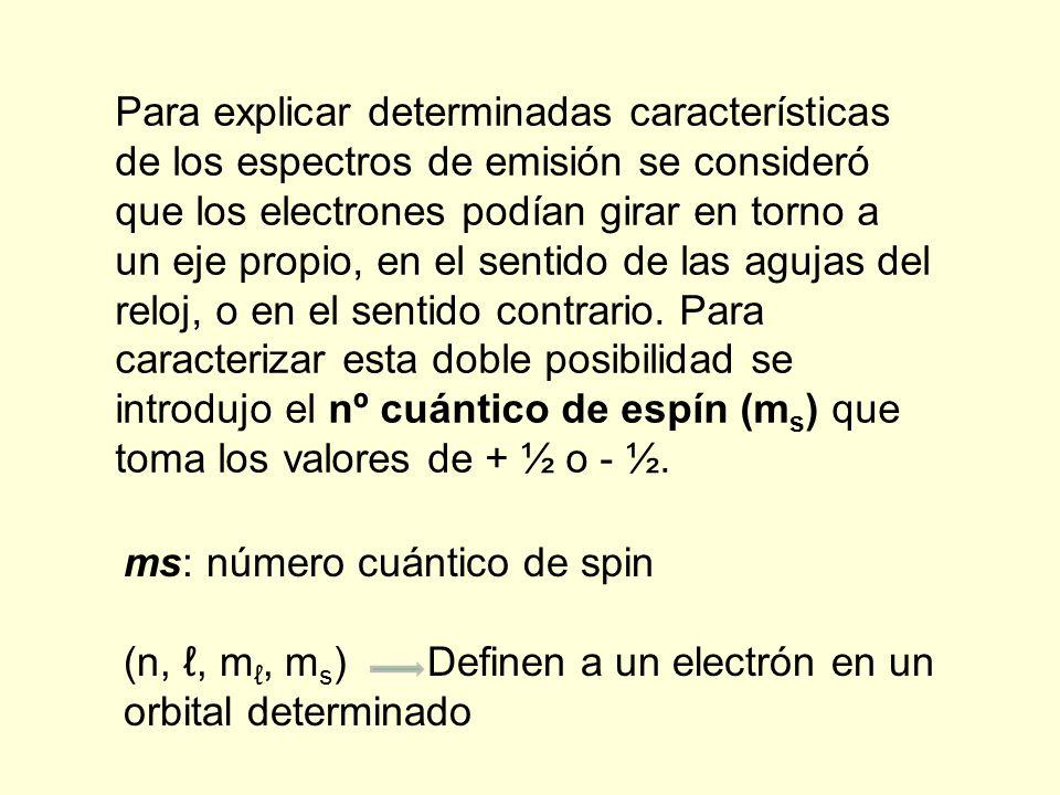 Para explicar determinadas características de los espectros de emisión se consideró que los electrones podían girar en torno a un eje propio, en el sentido de las agujas del reloj, o en el sentido contrario.