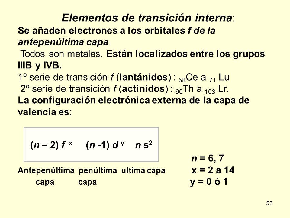 53 Elementos de transición interna: Se añaden electrones a los orbitales f de la antepenúltima capa. Todos son metales. Están localizados entre los gr