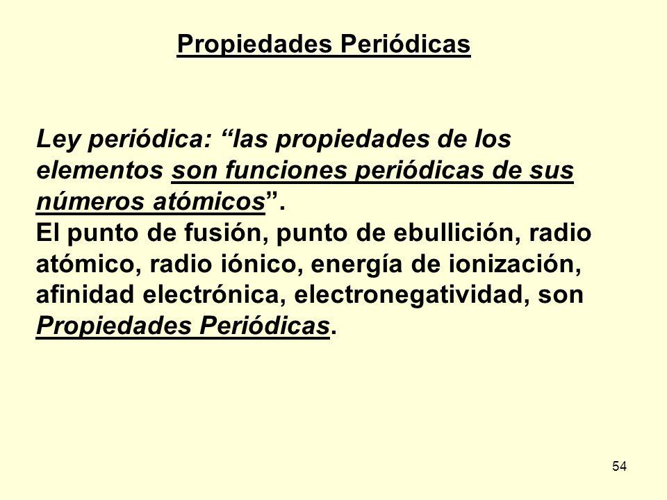 54 Propiedades Periódicas Ley periódica: las propiedades de los elementos son funciones periódicas de sus números atómicos.
