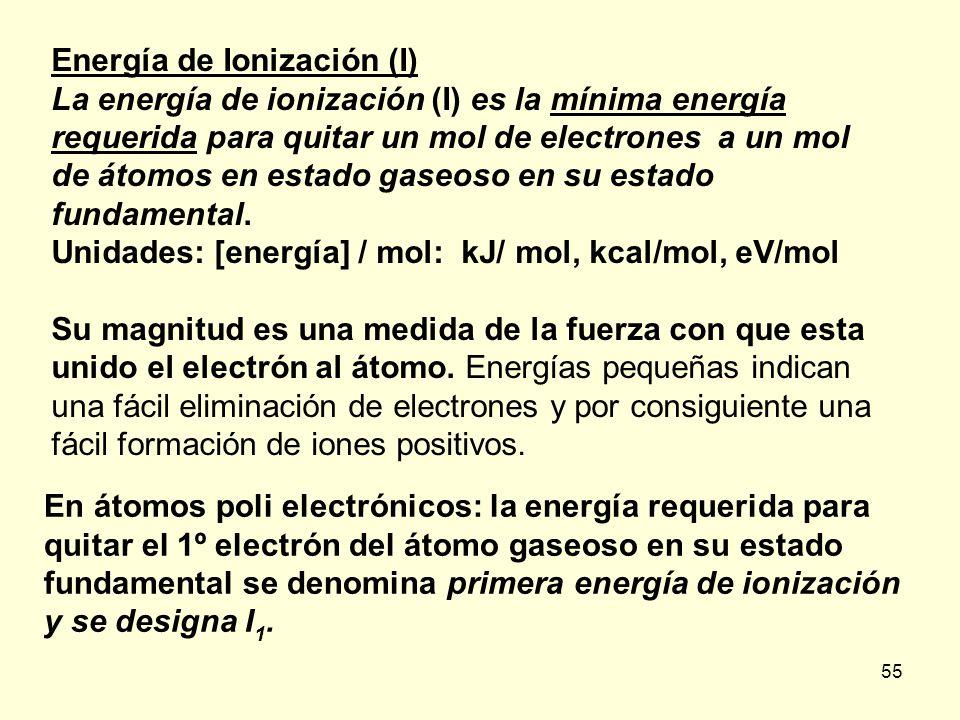 55 Energía de Ionización (I) La energía de ionización (I) es la mínima energía requerida para quitar un mol de electrones a un mol de átomos en estado