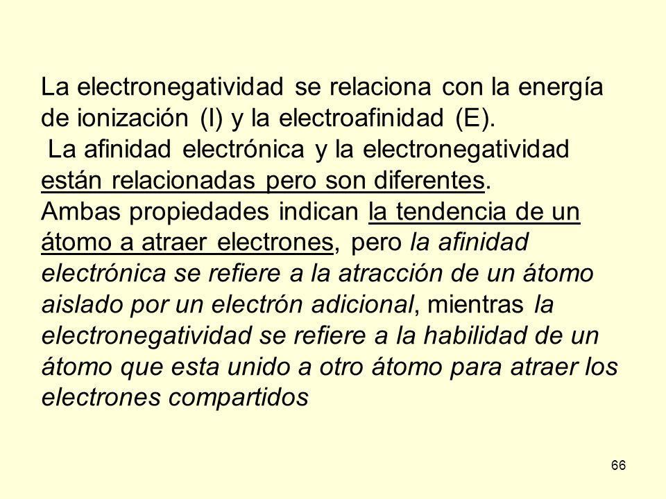 66 La electronegatividad se relaciona con la energía de ionización (I) y la electroafinidad (E). La afinidad electrónica y la electronegatividad están