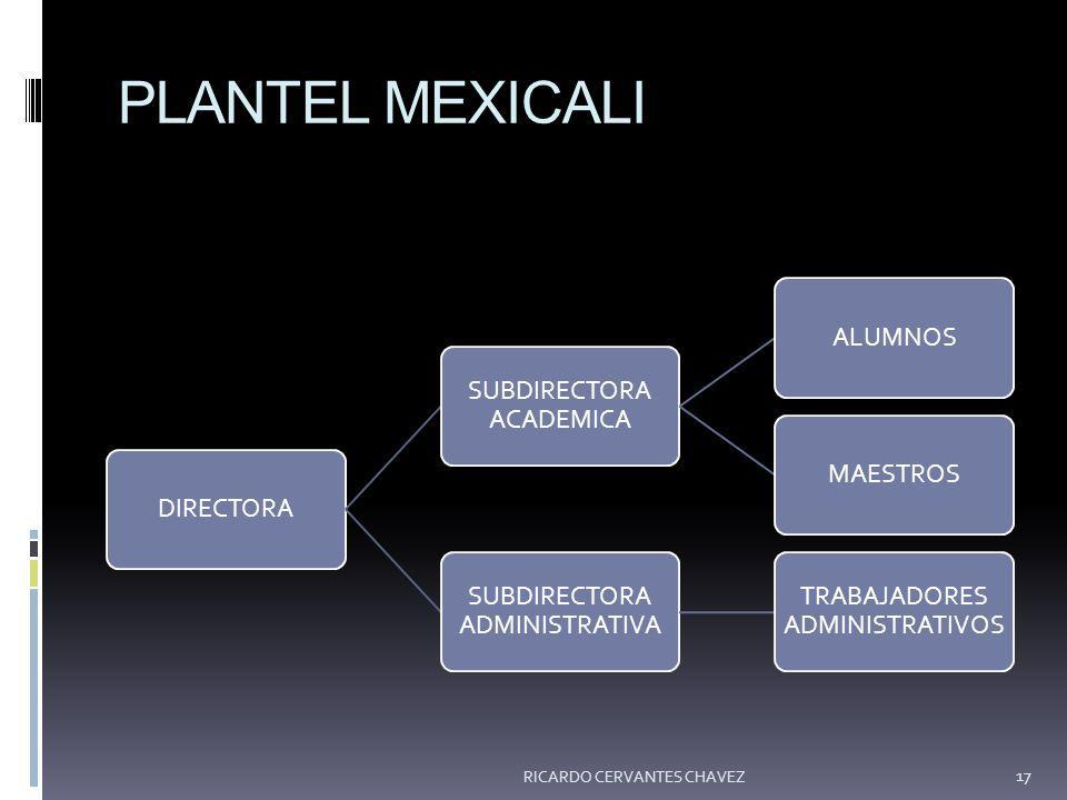 PLANTEL MEXICALI DIRECTORA SUBDIRECTORA ACADEMICA ALUMNOSMAESTROS SUBDIRECTORA ADMINISTRATIVA TRABAJADORES ADMINISTRATIVOS RICARDO CERVANTES CHAVEZ 17