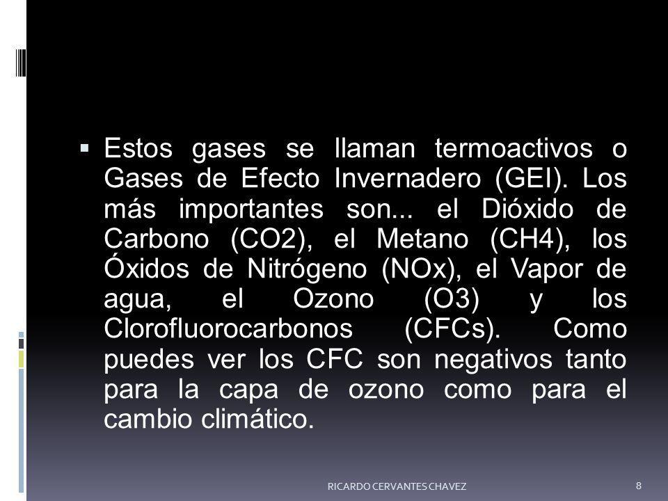 Estos gases se llaman termoactivos o Gases de Efecto Invernadero (GEI). Los más importantes son... el Dióxido de Carbono (CO2), el Metano (CH4), los Ó