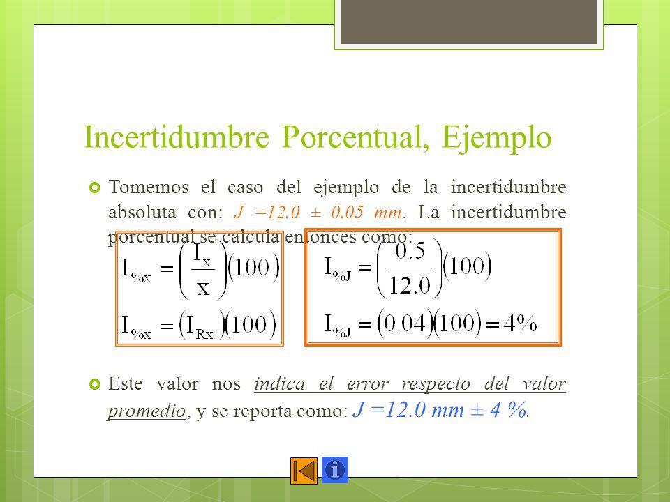 Incertidumbre Porcentual, Ejemplo Tomemos el caso del ejemplo de la incertidumbre absoluta con: J =12.0 ± 0.05 mm. La incertidumbre porcentual se calc