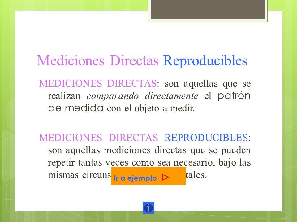 Mediciones Directas Reproducibles MEDICIONES DIRECTAS: son aquellas que se realizan comparando directamente el patrón de medida con el objeto a medir.