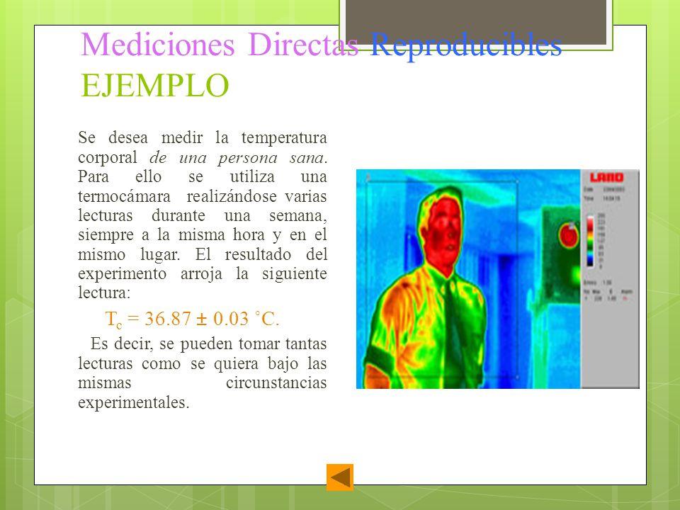 Mediciones Directas Reproducibles EJEMPLO Se desea medir la temperatura corporal de una persona sana. Para ello se utiliza una termocámara realizándos