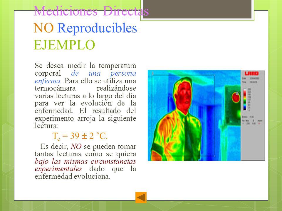Mediciones Directas NO Reproducibles EJEMPLO Se desea medir la temperatura corporal de una persona enferma. Para ello se utiliza una termocámara reali