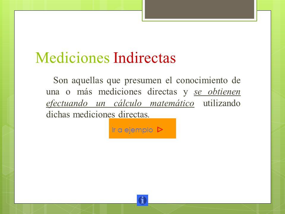 Mediciones Indirectas Son aquellas que presumen el conocimiento de una o más mediciones directas y se obtienen efectuando un cálculo matemático utiliz