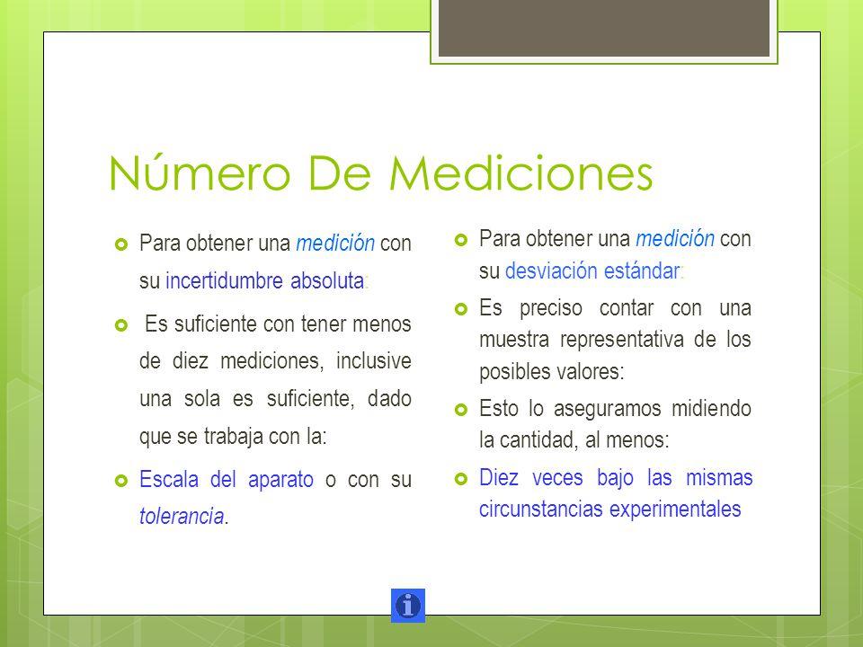 Número De Mediciones Para obtener una medición con su incertidumbre absoluta: Es suficiente con tener menos de diez mediciones, inclusive una sola es