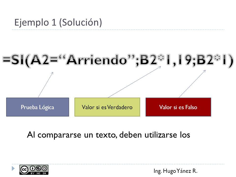 Ing. Hugo Yánez R. Ejemplo 1 (Solución) Prueba LógicaValor si es FalsoValor si es Verdadero Al compararse un texto, deben utilizarse los
