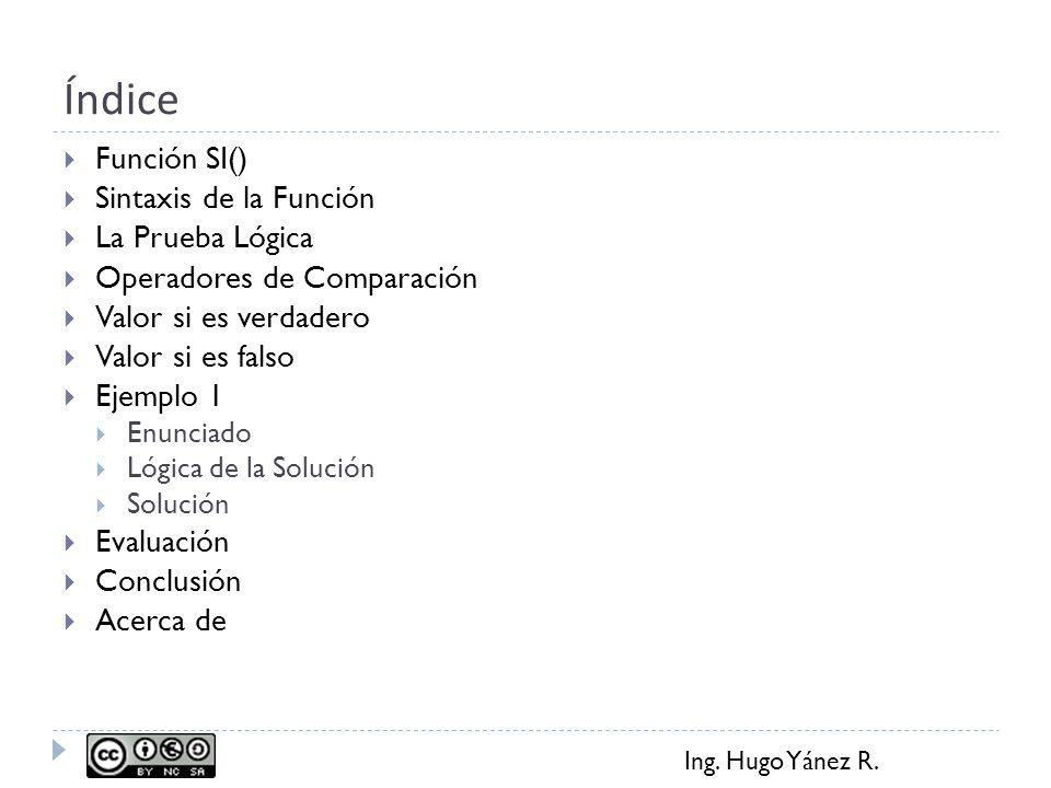 Ing. Hugo Yánez R. Índice Función SI() Sintaxis de la Función La Prueba Lógica Operadores de Comparación Valor si es verdadero Valor si es falso Ejemp