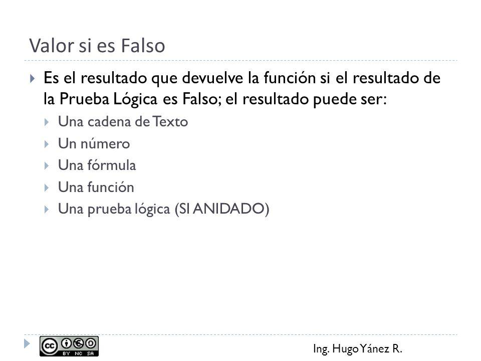 Ing. Hugo Yánez R. Valor si es Falso Es el resultado que devuelve la función si el resultado de la Prueba Lógica es Falso; el resultado puede ser: Una