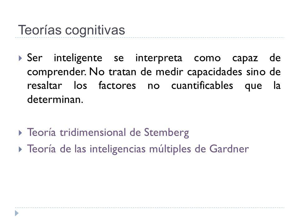 Teorías cognitivas Ser inteligente se interpreta como capaz de comprender. No tratan de medir capacidades sino de resaltar los factores no cuantificab