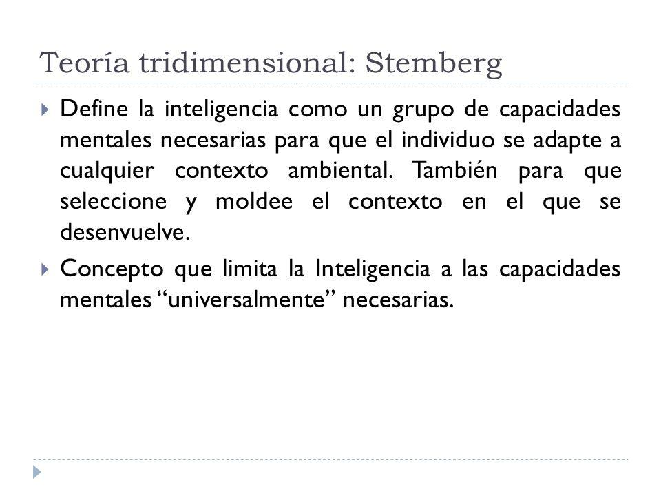 Teoría tridimensional: Stemberg Define la inteligencia como un grupo de capacidades mentales necesarias para que el individuo se adapte a cualquier co