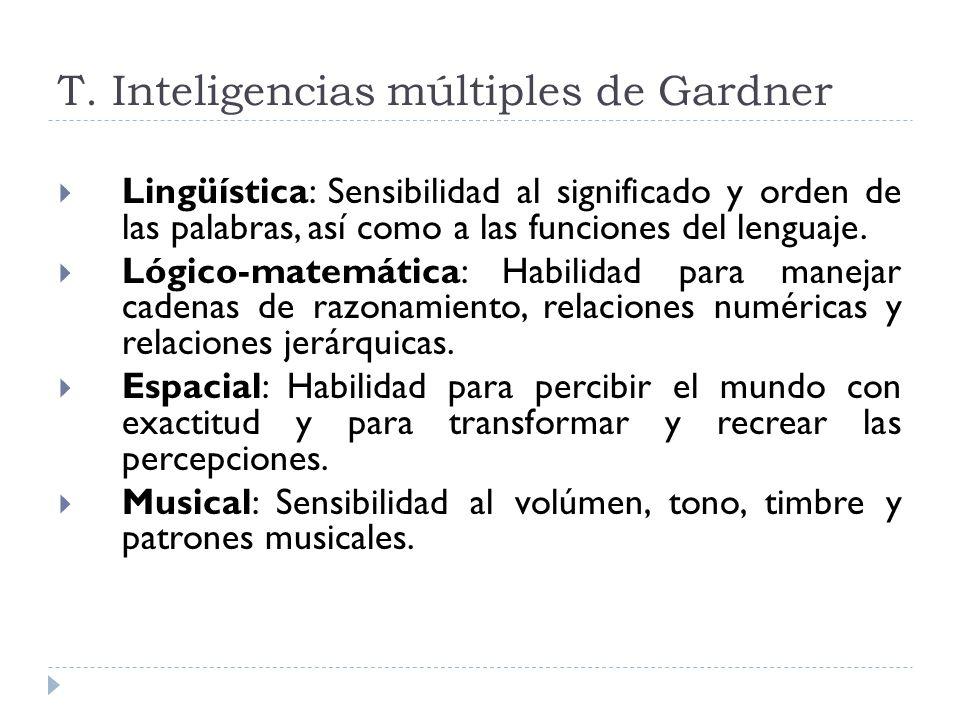 T. Inteligencias múltiples de Gardner Lingüística: Sensibilidad al significado y orden de las palabras, así como a las funciones del lenguaje. Lógico-