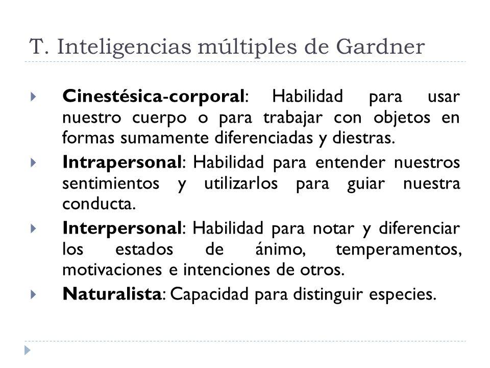 T. Inteligencias múltiples de Gardner Cinestésica-corporal: Habilidad para usar nuestro cuerpo o para trabajar con objetos en formas sumamente diferen