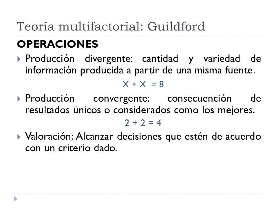 Teoría multifactorial: Guildford OPERACIONES Producción divergente: cantidad y variedad de información producida a partir de una misma fuente. X + X =