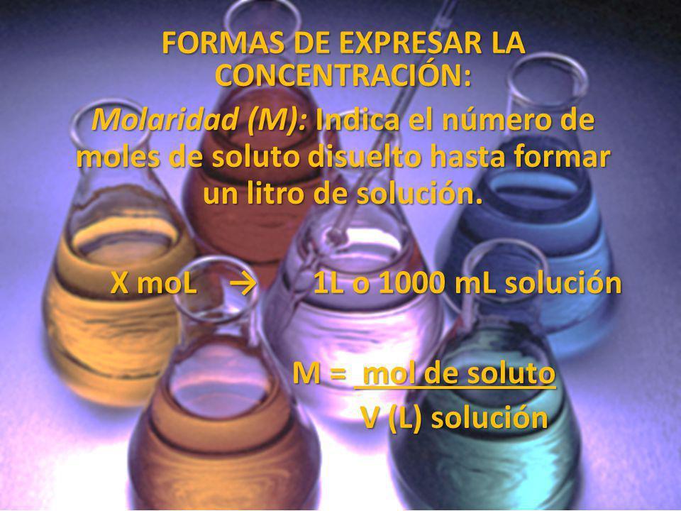 FORMAS DE EXPRESAR LA CONCENTRACIÓN: Molaridad (M): Indica el número de moles de soluto disuelto hasta formar un litro de solución. X moL 1L o 1000 mL