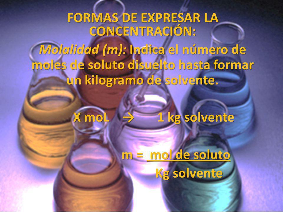 FORMAS DE EXPRESAR LA CONCENTRACIÓN: Molalidad (m): Indica el número de moles de soluto disuelto hasta formar un kilogramo de solvente. X moL 1 kg sol