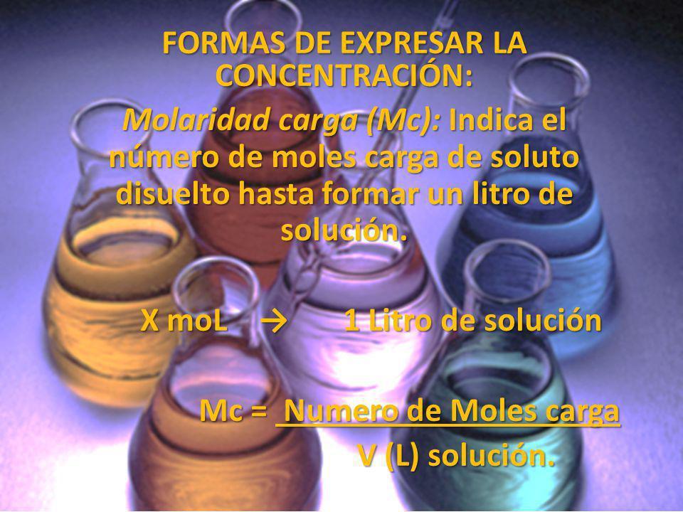 FORMAS DE EXPRESAR LA CONCENTRACIÓN: Molaridad carga (Mc): Indica el número de moles carga de soluto disuelto hasta formar un litro de solución. X moL
