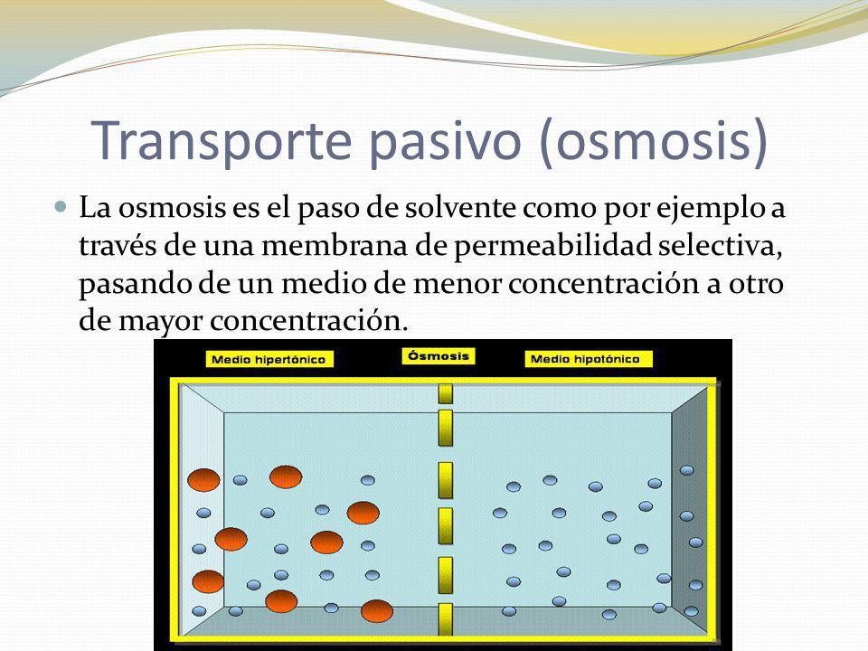 La osmosis es el paso de solvente como por ejemplo a través de una membrana de permeabilidad selectiva, pasando de un medio de menor concentración a o
