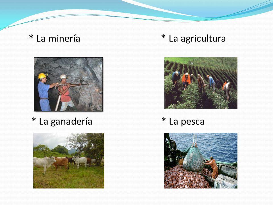 * La minería * La agricultura * La ganadería * La pesca