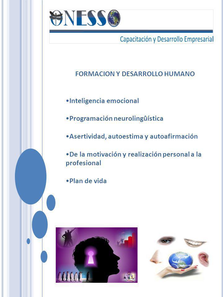 FORMACION Y DESARROLLO HUMANO Inteligencia emocional Programación neurolingûística Asertividad, autoestima y autoafirmación De la motivación y realiza