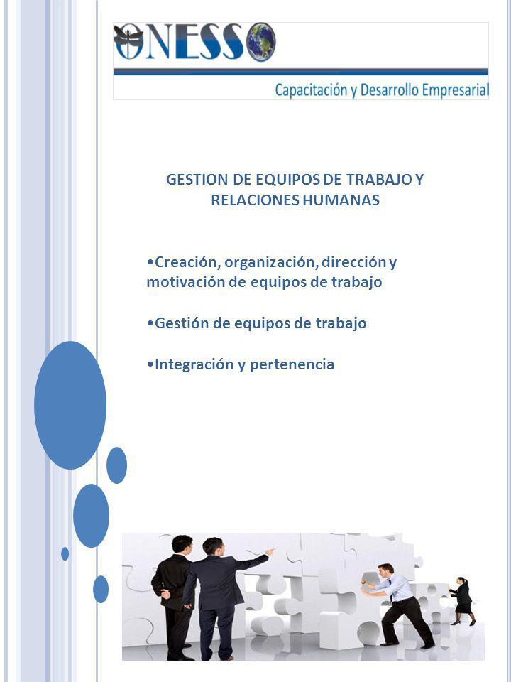 GESTION DE EQUIPOS DE TRABAJO Y RELACIONES HUMANAS Creación, organización, dirección y motivación de equipos de trabajo Gestión de equipos de trabajo