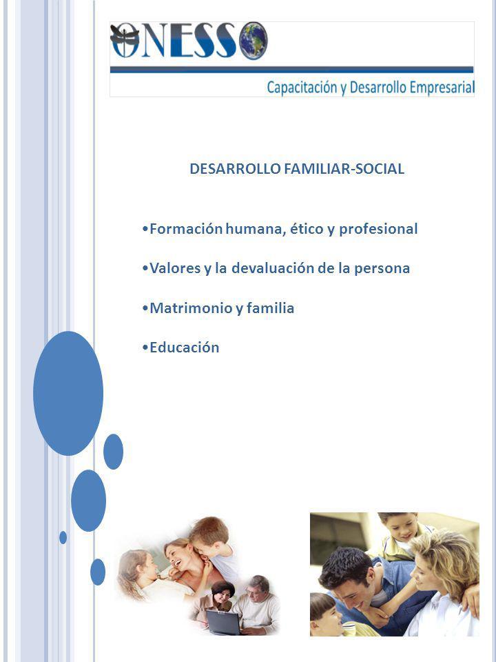 DESARROLLO FAMILIAR-SOCIAL Formación humana, ético y profesional Valores y la devaluación de la persona Matrimonio y familia Educación