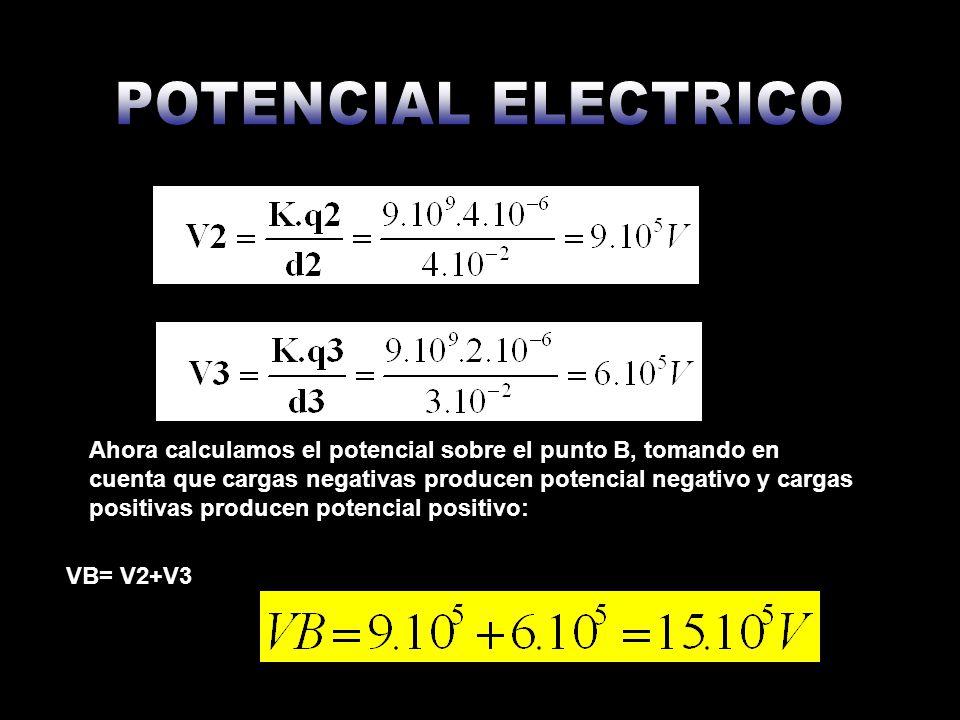 Ahora calculamos el potencial sobre el punto B, tomando en cuenta que cargas negativas producen potencial negativo y cargas positivas producen potenci