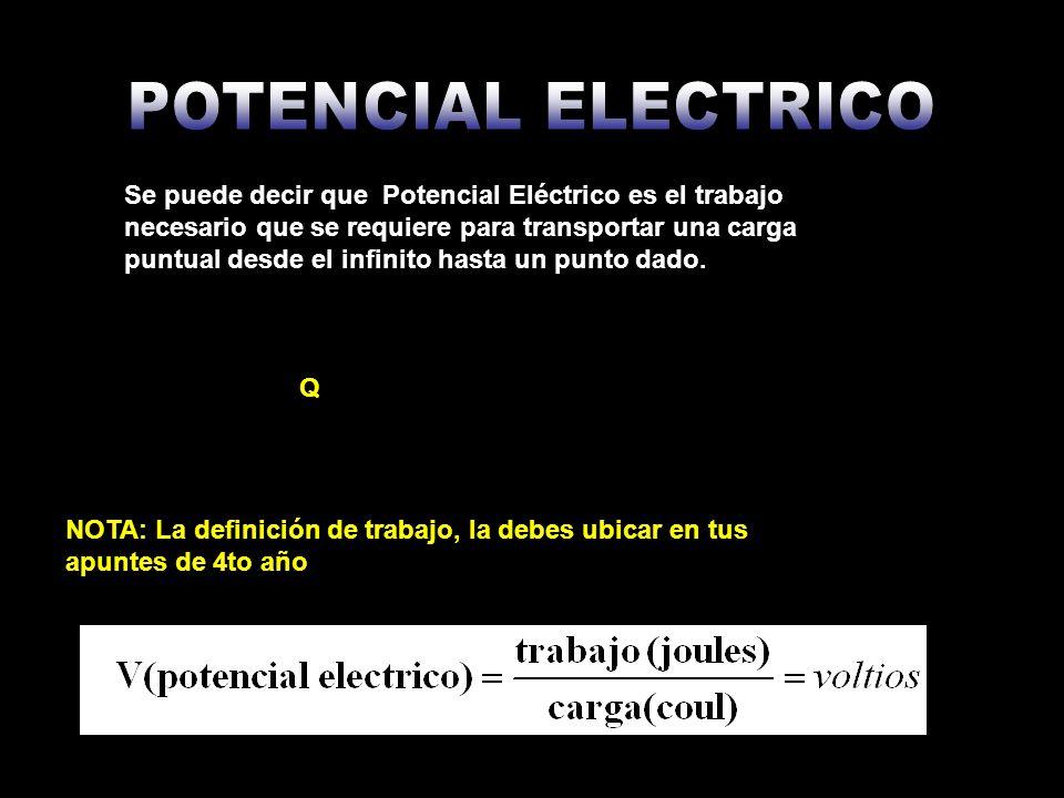Se puede decir que Potencial Eléctrico es el trabajo necesario que se requiere para transportar una carga puntual desde el infinito hasta un punto dad
