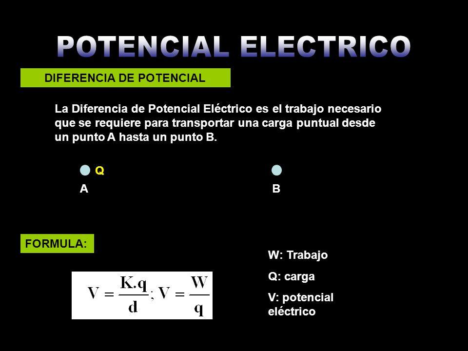 La Diferencia de Potencial Eléctrico es el trabajo necesario que se requiere para transportar una carga puntual desde un punto A hasta un punto B. Q D