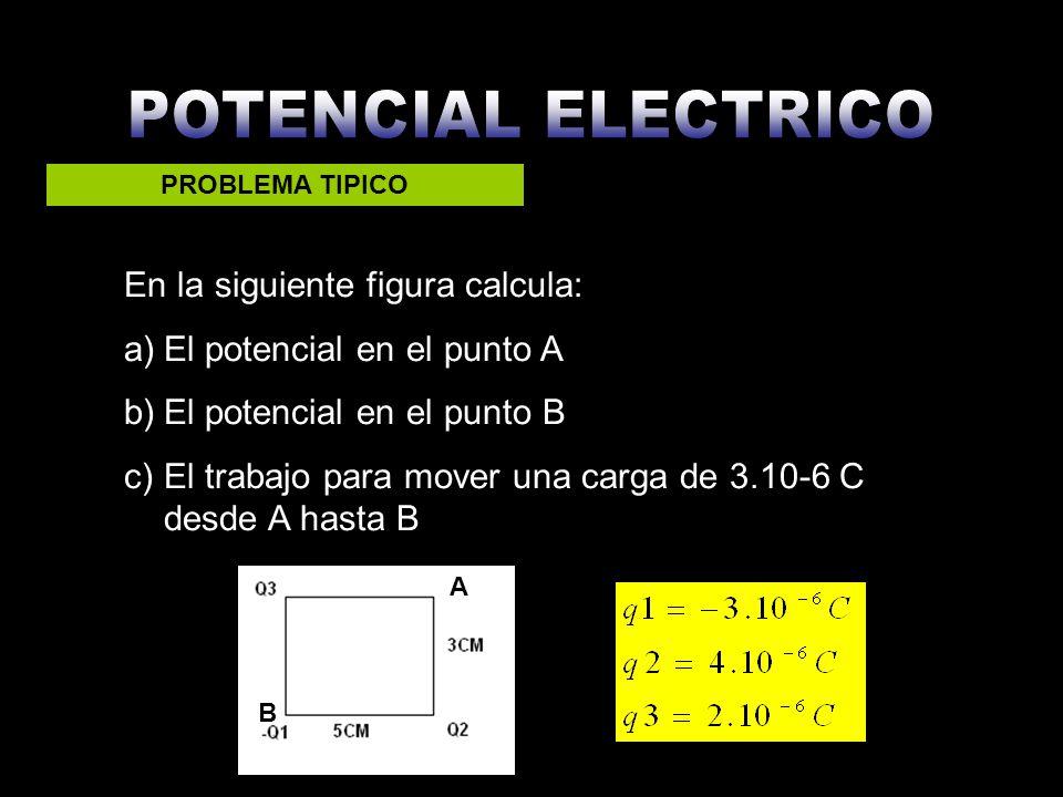 PROBLEMA TIPICO En la siguiente figura calcula: a)El potencial en el punto A b)El potencial en el punto B c)El trabajo para mover una carga de 3.10-6