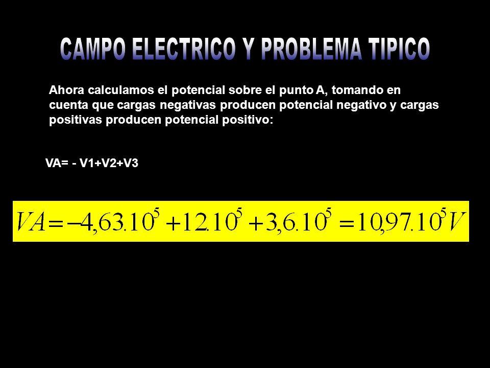 Ahora calculamos el potencial sobre el punto A, tomando en cuenta que cargas negativas producen potencial negativo y cargas positivas producen potenci