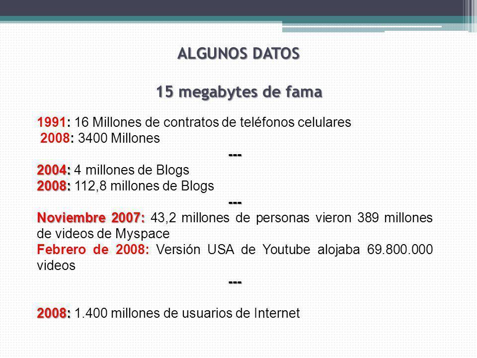 ALGUNOS DATOS 15 megabytes de fama 1991: 16 Millones de contratos de teléfonos celulares 2008: 3400 Millones--- 2004: 2004: 4 millones de Blogs 2008: