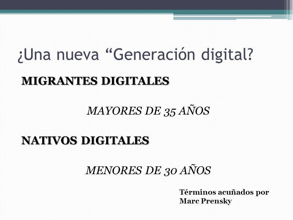 ¿Una nueva Generación digital? MIGRANTES DIGITALES MAYORES DE 35 AÑOS NATIVOS DIGITALES MENORES DE 30 AÑOS Términos acuñados por Marc Prensky