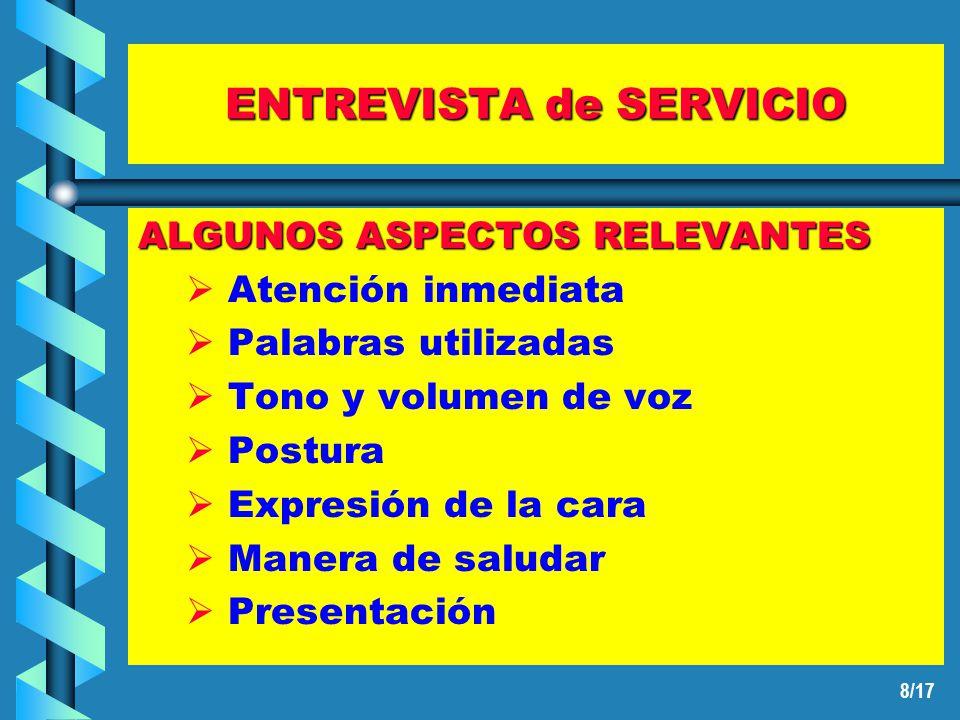 7/17 ENTREVISTA de SERVICIO COMIENZO de la ENTREVISTA ACTITUD de SERVICIO: Profesionalidad Implicación CONSIDERA la REALIDAD del CLIENTE