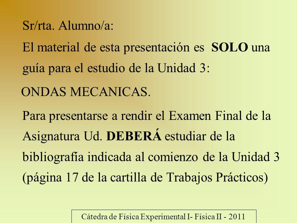 Sr/rta. Alumno/a: El material de esta presentación es SOLO una guía para el estudio de la Unidad 3: ONDAS MECANICAS. Para presentarse a rendir el Exam