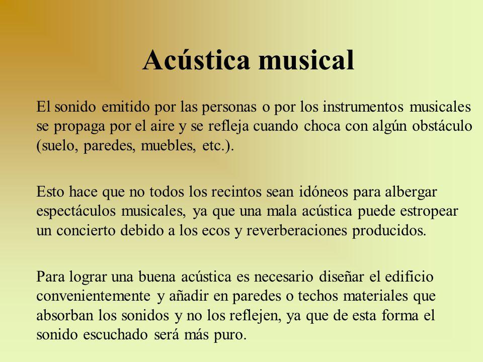 Acústica musical El sonido emitido por las personas o por los instrumentos musicales se propaga por el aire y se refleja cuando choca con algún obstác