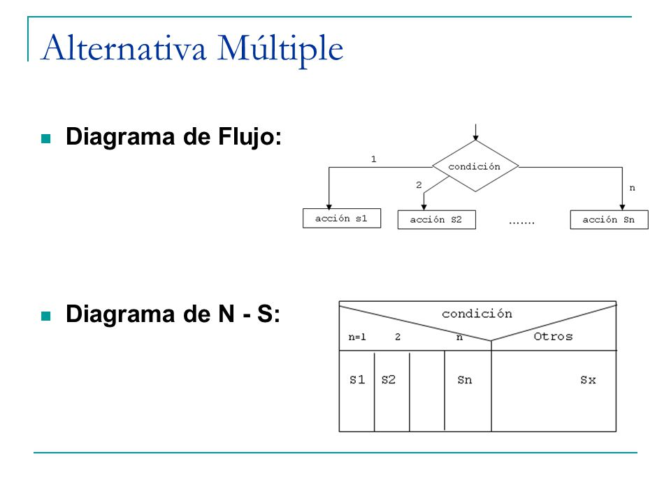 Alternativa Múltiple Diagrama de Flujo: Diagrama de N - S: