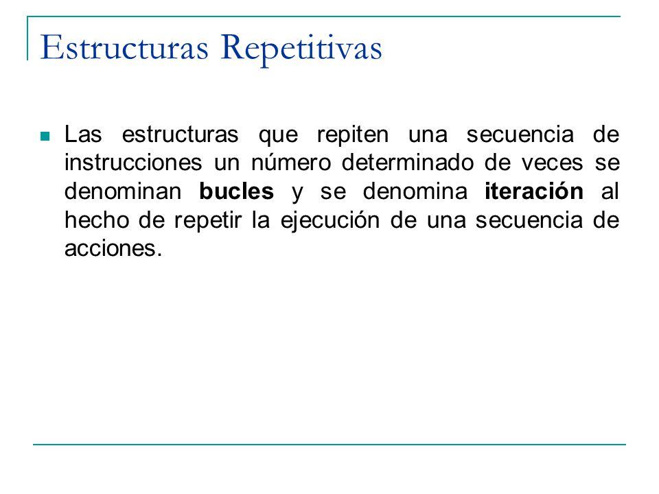 Estructuras Repetitivas Las estructuras que repiten una secuencia de instrucciones un número determinado de veces se denominan bucles y se denomina it