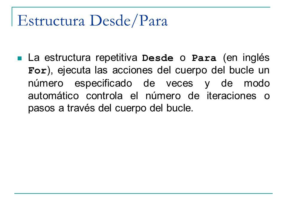 Estructura Desde/Para La estructura repetitiva Desde o Para (en inglés For ), ejecuta las acciones del cuerpo del bucle un número especificado de vece