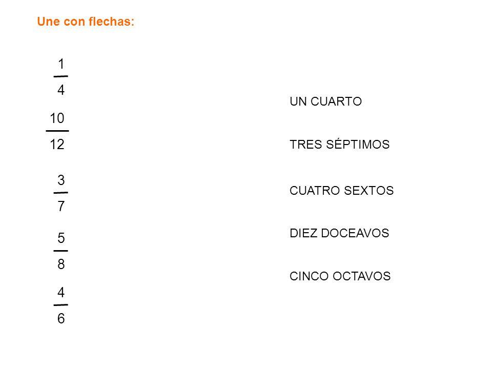 Une con flechas: 10 12 3737 1414 5858 4646 UN CUARTO TRES SÉPTIMOS CUATRO SEXTOS DIEZ DOCEAVOS CINCO OCTAVOS