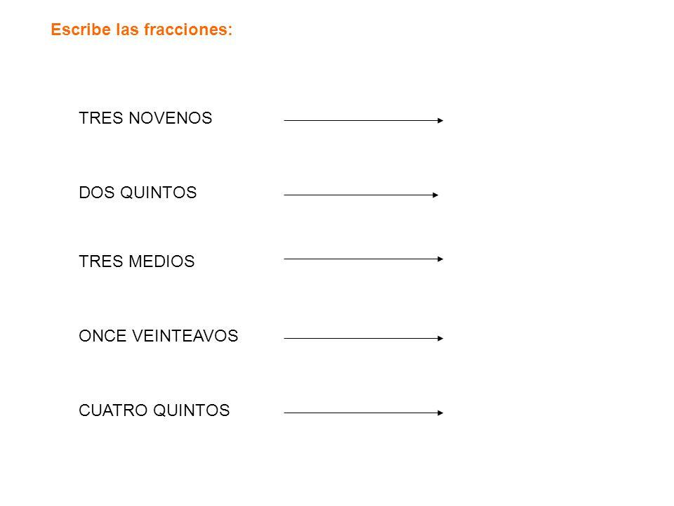 Escribe las fracciones: TRES NOVENOS DOS QUINTOS TRES MEDIOS ONCE VEINTEAVOS CUATRO QUINTOS